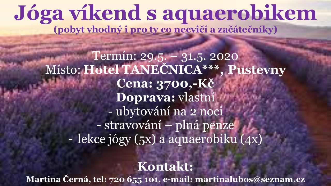 Jóga víkend s aquaerobikem 29.-31.5.2020 změna