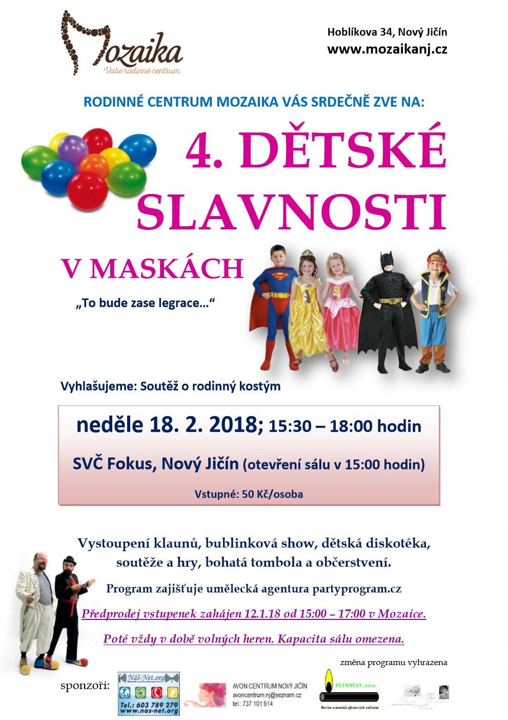 4. dětské slavnosti v maskách 2018
